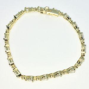 Gold 7 inch Round & Pear white CZ Tennis Bracelet